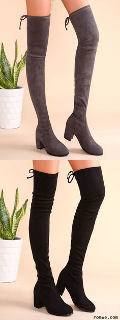 Suede Tie Back Chunky Heel Thigh High Boots