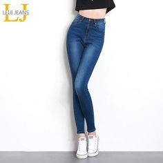 7fcd80de1c7a Jeans for Women black Jeans High Waist Jeans Woman High Elastic plus size  Stretch Jeans female washed denim skinny pencil pants