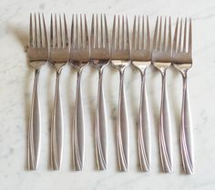 """Set of Oneida Repose Stainless 6 3//4/"""" Salad Forks 10"""