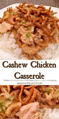 Tender juicy chicken in a creamy soy and cashew sauce with layers of Chow Mien Noodles! It can be made ahead of time and it's comfort food. Cashew Chicken Casserole Recipe, Casserole Recipes, Chicken Recipes, Chicken Treats, Asian Recipes, Mexican Food Recipes, Dinner Recipes, Food Dishes, Main Dishes