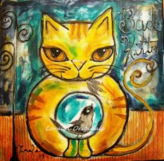 BAD KITTY CAT RESCUE Holiday Charity SALE Original Painting FOLK Art Loralai