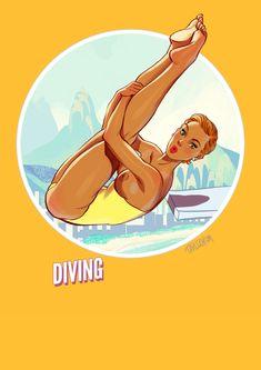Summer Games, Winter Games, Calendar 2017, Summer Olympics, Illustrations, Bored Panda, Pin Up Girls, Diving, Erotic