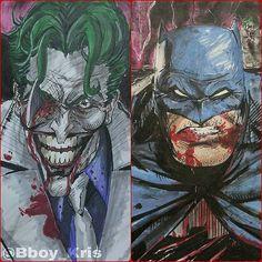 Vote which one is the best, and why. Don't be afraid to comment! #Batman #Joker #DarkKnightReturns #DKIII #DKR #FrankMiller #Sketch #Inks #Copics #PrismaColor #WinsorNewton #ChartPak #PigmaMicron #BreakingNecks #LastLaugh #FanArt #SketchVigilante