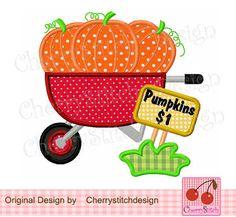 Pumpkin Wagon Digital Embroidery Appliqque by CherryStitchDesign, $2.99