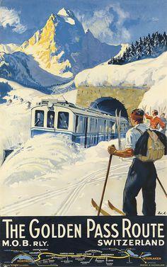 EDOUARD ELZINGRE (1880-1966) THE GOLDEN PASS ROUTE / SWITZERLAND. 1934.