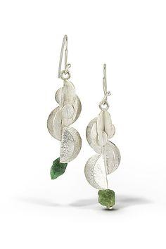 Desert Rose Earrings with Tsavorite Garnet: Lori Gottlieb: Silver & Stone Earrings | Artful Home
