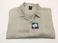 Hang Ten XL Men's Short Sleeve Casual Camp Shirt Ramie Cotton Tan Brown NEW NWT #HANGTEN #ButtonFront