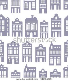 vector seamless pattern with various silhouettes of  European houses