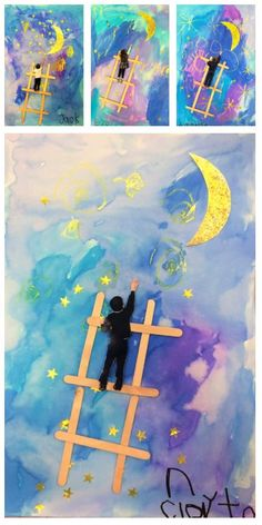 Reach for the moon and melt the hearts of parents. In this lesson students recreate the famous art piece Ladder to the Moon by Georgia OKeeffe. Food Art For Kids, Art Lessons For Kids, Famous Art Pieces, Kindergarten Art Lessons, Classroom Art Projects, Album Jeunesse, Space Theme, Moon Art, Art Plastique