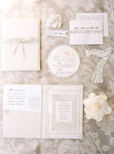 Dreamy gray and floral invite via Style Me Pretty