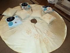 Christmas Tree Skirt and Pillows made from a wedding dress - by Keepsake Threads.