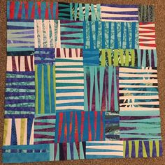 "More progress - it measures approx 30"" square at the moment. I intend to make it bigger but will take a break and then decide what else to do. #improvstripesqal #improvstripes #makemodern #scrapquilting"