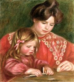 Gabrielle and Coco Playing Dominos Pierre Auguste Renoir - circa 1905-1906