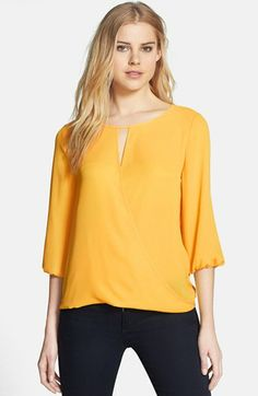 Vince Camuto Three Quarter Sleeve Faux Wrap Blouse available at #Nordstrom
