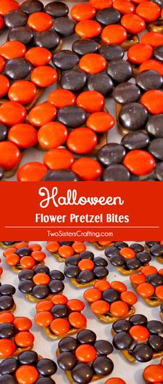 These pretty Halloween Flower Pretzel Bites will be everyone's favorite Halloween Treat. They are a unique Halloween Dessert that is very easy to make and delicious too. Yummy bites of Halloween themed sweet and salty goodness all ready for a Halloween Party. Follow us for more fun Halloween Food Ideas.