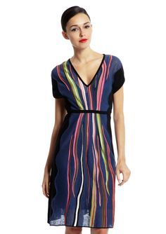 ideeli | M MISSONI V-Neck Dolman Sleeve Dress Something about this is just happy.  The background blue and black accent are understated and sort of calm, and maybe it's because I just watched fireworks, but the ribbons of color just look vibrant and joyous.
