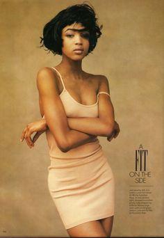 """Shrink To Fit"", Elle UK, April 1987  Photographer: Martin Brading   Model: Naomi Campbell"