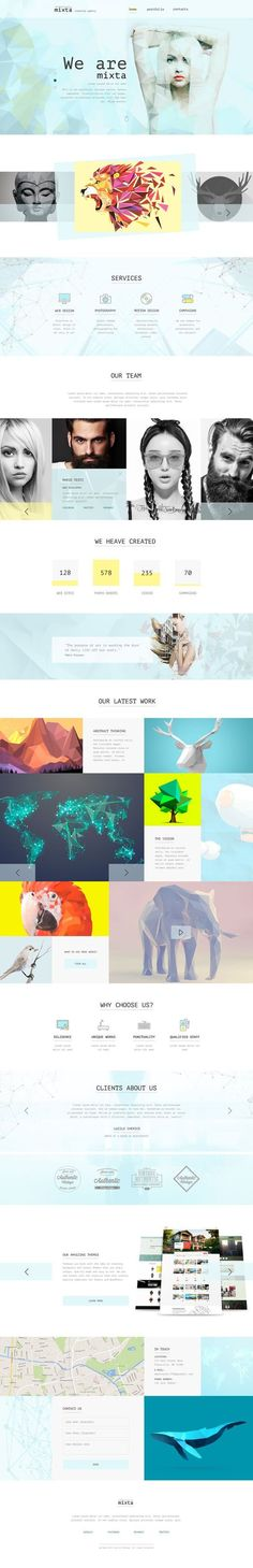 Mixta — Creative Agency, Portfolio #PSD Template have an awesome design for website of Personal Portfolio, News / Magazine, Fashion, Creative Blog, Gallery Photo, Creative Corporate, Community, Company Profile, Agency and other. It's clean, modern and beautiful grid based template.: