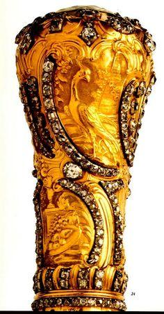 Castão de bengala em ouro e brilhantes