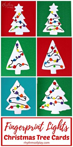 Fingerprint Christmas Lights Cards Craft - Make beautiful handmade cards to send to family and friends for the holidays this year. Homemade Christmas tree cards with lights are an easy fingerprint art Christmas Art Projects, Christmas Arts And Crafts, Preschool Christmas, Christmas Activities, Holiday Crafts, Craft Projects, Homemade Christmas Tree, Christmas Tree Cards, Christmas Lights