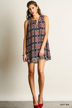Printed Tie Front Dress - Navy Mix
