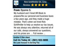 My husband and I hired HR Block to prepare/file our personal and business taxes a few...