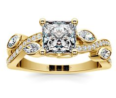 Princess Twisted Petal Diamond Engagement Ring in Yellow Gold  http://www.brilliance.com/engagement-rings/twisted-petal-diamond-ring-yellow-gold
