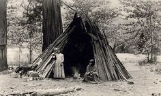 PIC 23 - The people standing in front of this structure are Paiutes - The NPS uses Paiutes to represent Miwok people.