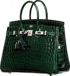 79a240184d9 Hermes Shiny Vert Fonce Nilo Crocodile Birkin Bag with Palladium Hardware N  Square