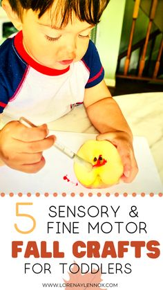 5 Sensory and Fine Motor Fall Crafts for Toddlers — Lorena & Lennox Bilingual Beginnings Crafts are so important for toddlers who are learning at such a fast pace. Check out these 5 Sensory & Fine Motor Fall Crafts for Toddlers. Fall Crafts For Toddlers, Easy Fall Crafts, Fun Crafts, Toddler Preschool, Toddler Crafts, Toddler Activities, Toddler Games, Pumpkin Crafts, Tree Crafts