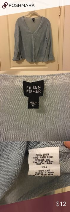 Eileen Fisher cardigan Lightweight 100% linen button front cardigan. The color is a light blue/gray. Eileen Fisher Sweaters Cardigans