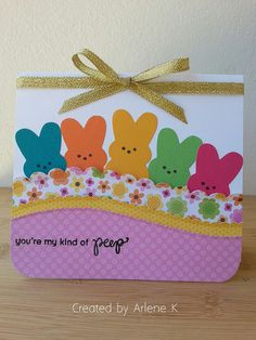 I made this colorful Easter card with the SSS dies. This card was very easy to make. The bunny die came in a SSS March Card Kit I . Easter Projects, Easter Crafts, Diy Easter Cards, Handmade Easter Cards, Envelopes Decorados, Easter Colors, Cricut Cards, Paper Cards, Kids Cards