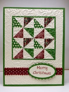 handmade Christmas card by Bonnie Emmons ... green and burgundy on white ... quilt block design ... for pinwheel squares in a block ... luv the embedded embossing ... great design to fit a square block onto a rectangular card .. . Stampin' Up!