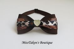 Brown Heart Pet Bow Tie Adjustable Neck Size: Bow: x Collar: Grosgrain Ribbon Plastic Hook Pet Accessories, Grosgrain Ribbon, Collars, Bows, Plastic, Tie, Boutique, Heart, Handmade