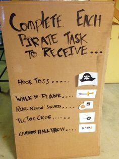 Must complete different tasks to receive parts of a pirate outfit/pirate gear Add ths to the station activities for the day or week. Pirate Day, Pirate Birthday, Pirate Theme, Mermaid Birthday, Pirate Party Games, Pirate Games For Kids, Party Mottos, Peter Pan Party, Pirate Crafts