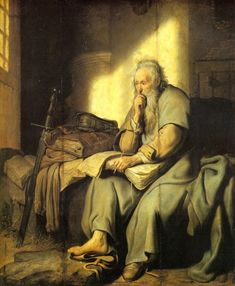 Portrait of Saint Paul the Apostle sitting on a bed in his prison cell writing epistles to the Corinthians with his big sword leaning against the bed. Artwork by Rembrandt van Rijn. List Of Paintings, Rembrandt Paintings, Rembrandt Art, Paul The Apostle, Baroque Art, San Pablo, Biblical Art, Dutch Painters, Catholic Art
