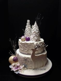 Winter Wonderland theme for a bridal shower. Used many elements on this cake including Isomalt and chocolate for the ornaments.