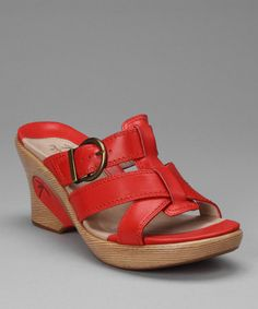 $49.99 Take a look at this Cherry Mia Wedge Slide by DROMEDARIS on #zulily today!