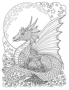 coloring pages - FANTASY Themed Coloring Book Fairies, dragons, pixies, gargoyles Adult coloring magic realms color books Dragon Coloring Page, Fairy Coloring Pages, Adult Coloring Book Pages, Printable Adult Coloring Pages, Animal Coloring Pages, Coloring Books, Detailed Coloring Pages, Coloring Sheets, Christmas Art Projects