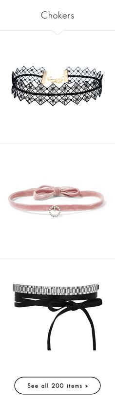 Chokers by hernamewaslily on Polyvore featuring women's fashion, jewelry, necklaces, choker, accessories, black, choker necklace, choker jewellery, lace jewelry and lace choker.