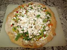 Greek Chicken Salad... Pizza!!  So easy and quick to make and even the kids love it - yummy!