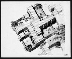 Oriental Masonic Gardens - Original Axonometric Drawing - Paul Rudolph