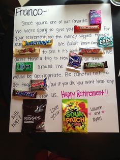 Candy bar poster board for coworker leaving crafty creations diy retirement gift solutioingenieria Gallery