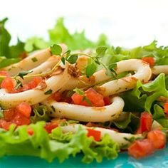 Grilled calamari salad with Sauce Vierge. This dish is so beautifully light, it can be served as a starter or side salad. Fish Recipes, Seafood Recipes, Grilled Calamari, Food Photography Styling, Food Styling, Italian Recipes, Italian Foods, Time To Eat, Side Salad