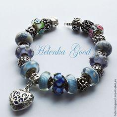 Купить Голубые цветы 103 Браслет Пандора - пандора, пандора браслет, модный браслет