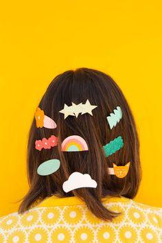 Polymer Clay Crafts, Diy Clay, Polymer Clay Earrings, Diy Schmuck, Cool Diy Projects, Hair Barrettes, Clay Art, Diy Paper, Diy For Kids
