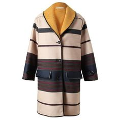 BALENCIAGA Oversized Striped Wool-blend Coat ($2,650) ❤ liked on Polyvore
