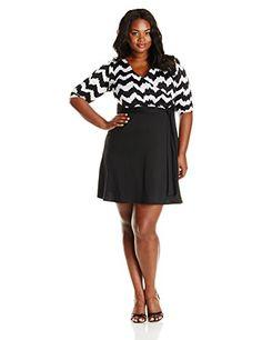 Star Vixen Plus-Size Print Top Black Skirt Faux-wrap Dress, White/Black - http://www.womansindex.com/star-vixen-plus-size-print-top-black-skirt-faux-wrap-dress-white-black/