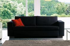 Free Italian Sleeper Sofa in Black Fabric by Bonaldo Contemporary Sleeper Sofas, Sofa Bed Design, Black Fabric, Free Design, Love Seat, Couch, Modern, Room, Furniture