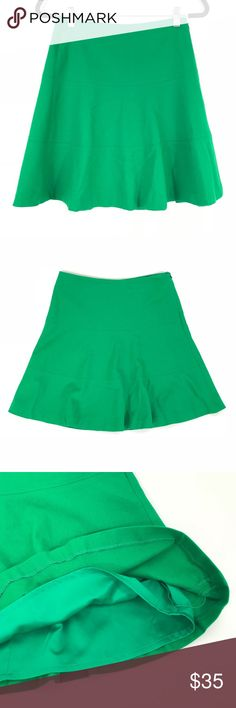 "Boden Green Wool Blend A-Line Skirt Boden A-Line Skirt Womens US 4R UK 8R. Solid Green, Wool Blend and fully lined. Perfect holiday Christmas Skirt. Gently used with no holes or stains. Below is approximate measurements using a tailor measuring tape.    Bust size laying flat across: 13.5"" Length: 19"" Boden Skirts A-Line or Full"